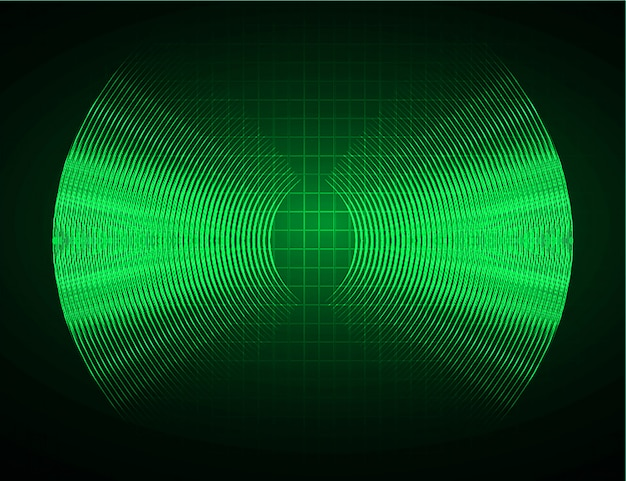 Geluidsgolven oscillerende donkergroene lichte achtergrond