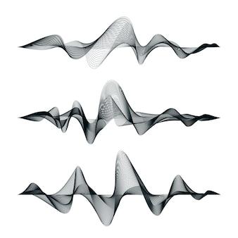 Geluidsgolven volgen ontwerp. set van audiogolven. abstracte equalizer.