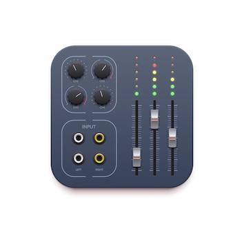 Geluidsmixer, app-pictogram voor muziekopname, audiobedieningspaneel