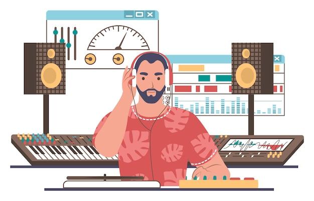 Geluidsontwerper, ingenieur, redacteur die muziek maakt in de studio, platte vectorillustratie. geluid en muziek opnemen, mixen.
