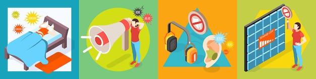 Geluidsoverlast isometrisch ontwerpconcept van luide geluiden met lijdende mensenillustratie