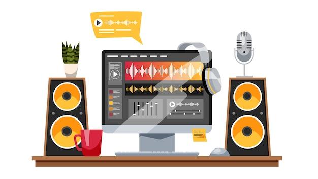 Geluidsproductieconcept. muziekindustrie, geluidsopname