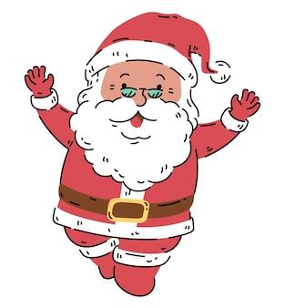 Geluk lachende kerstman pose actie cartoon karakter vectorillustratie geïsoleerd op wit