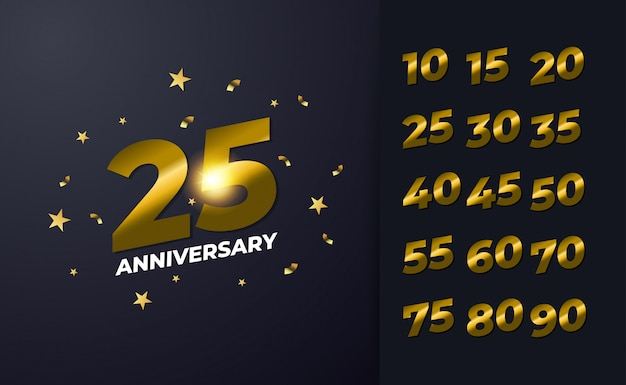 Gelukkig 25e verjaardag achtergrond met zwarte en gouden kleur