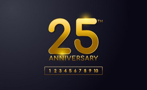 Gelukkig 25e verjaardag achtergrond sjabloon. met zwarte en gouden kleur