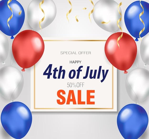 Gelukkig 4 juli-banner met ballonnen kortingsverkoop speciale aanbieding american independence day-sjabloon