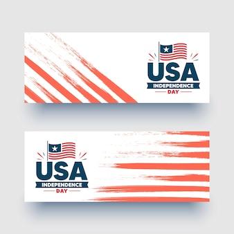 Gelukkig 4 juli banners, flyers. amerikaanse vlag. onafhankelijkheidsdag