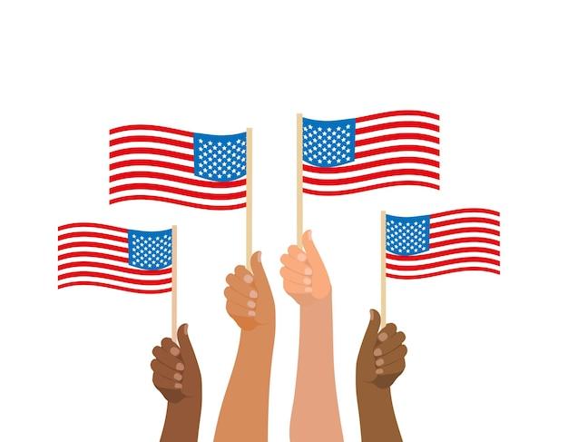 Gelukkig 4 juli, mensen houden amerikaanse vlag. amerikaanse onafhankelijkheidsdag nationale feestdag. vector illustratie.