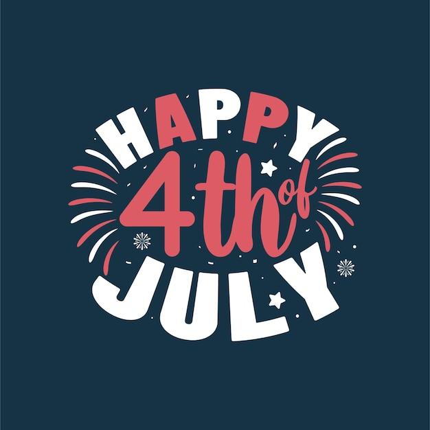 Gelukkig 4 juli, onafhankelijkheidsdag belettering