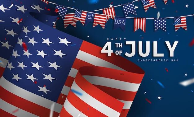 Gelukkig 4 juli vakantie banner. usa independence day viering achtergrond.