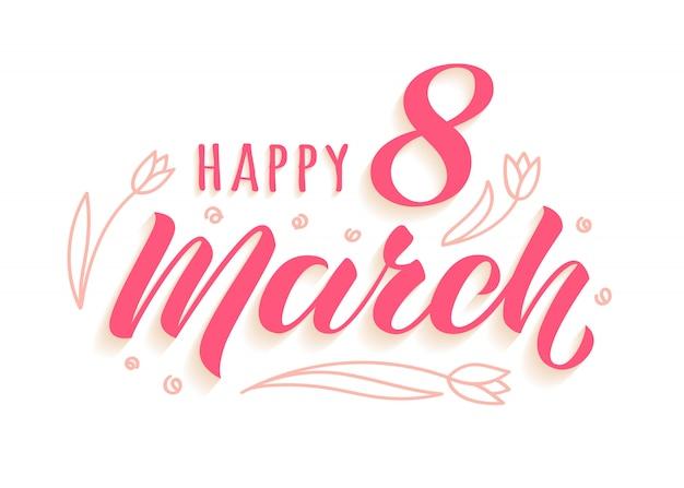Gelukkig 8 maart handgeschreven letters met doodle tulpen voor dames wenskaart
