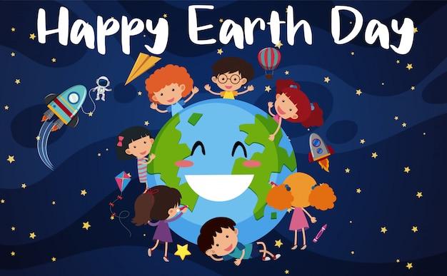 Gelukkig aarde dag ontwerp met gelukkige kinderen in de ruimte