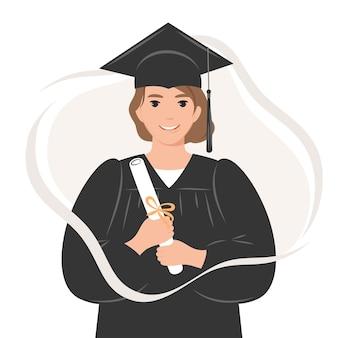 Gelukkig afgestudeerde studente met een diploma met een badjas en academische pet