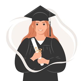 Gelukkig afgestudeerde studente met een diploma met een gewaad en een vierkante academische pet