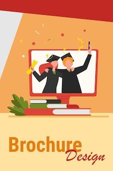 Gelukkig afgestudeerde studenten met diploma op monitor. boek, universiteit, koper platte vectorillustratie. onderwijs- en kennisconcept voor banner, websiteontwerp of bestemmingswebpagina