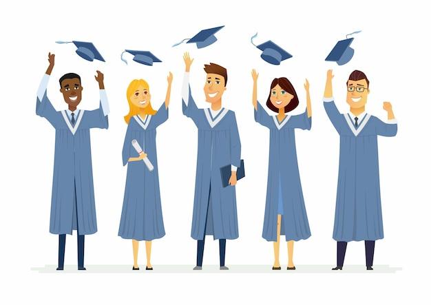 Gelukkig afstuderen studenten - cartoon personen personages geïsoleerde illustratie. compositie met het vieren van mensen in academische toga's die afgestudeerde petten overgeven, certificaten en diploma's vasthouden
