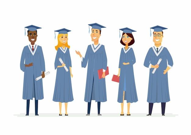 Gelukkig afstuderen studenten - cartoon personen personages geïsoleerde illustratie. compositie met het vieren van mensen in academische toga's met gediplomeerde petten, met certificaten en diploma's