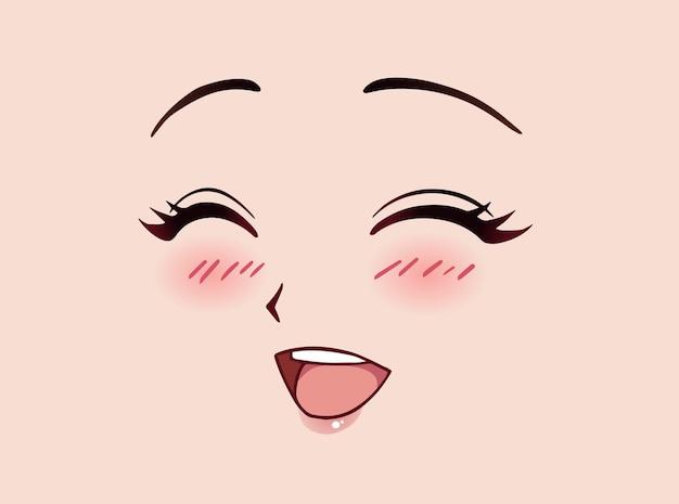 Gelukkig anime vrouw gezicht