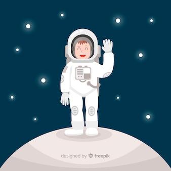 Gelukkig astronautenkarakter met vlak ontwerp