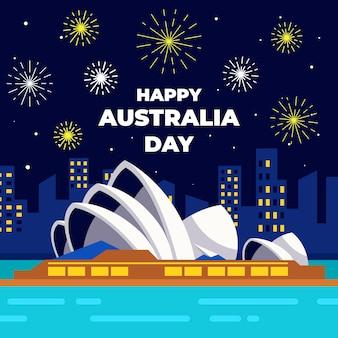 Gelukkig australië dag plat ontwerp