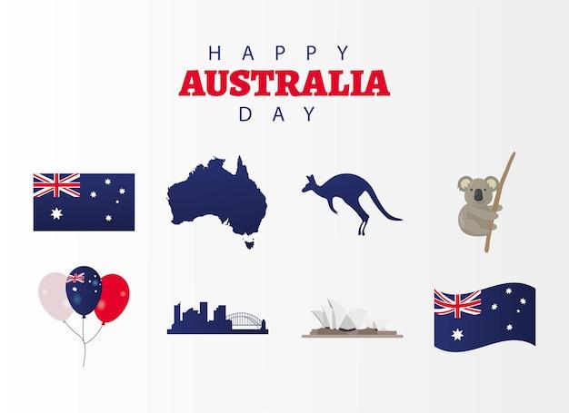 Gelukkig australië dag wenskaart