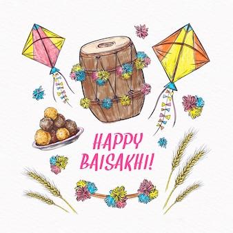 Gelukkig baisakhi-evenement met tarwe en vliegers
