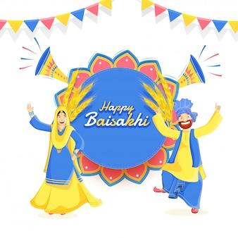 Gelukkig baisakhi-festival met punjabi couple dancing.