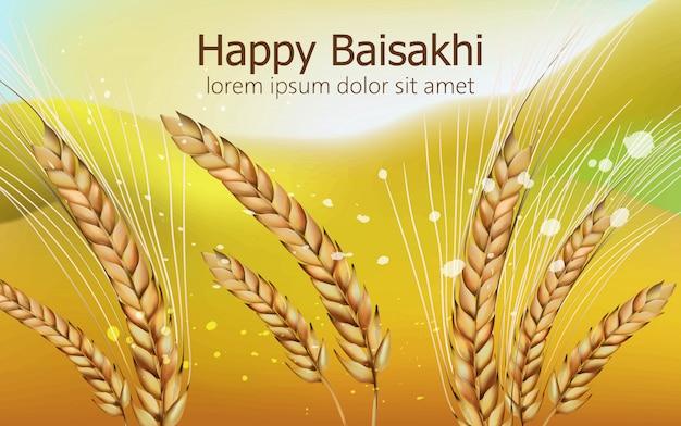 Gelukkig baisakhi met tarwekruid en kleurrijke onscherpe achtergrond