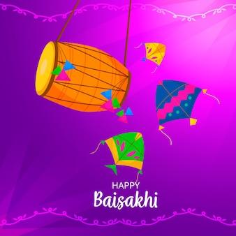 Gelukkig baisakhi vlakke stijl met vat