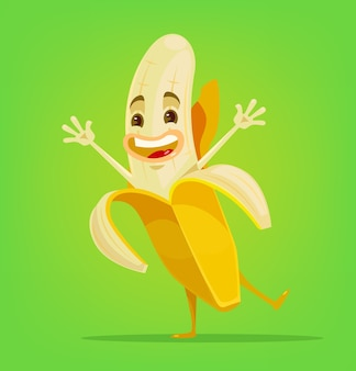 Gelukkig bananenkarakter.