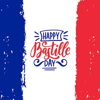 Gelukkig bastille dag kalligrafie ontwerp. vectorillustratie op franse nationale vlag.