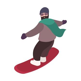 Gelukkig bebaarde snowboarder gekleed in bovenkleding snowboard langs helling rijden. seizoensgebonden sportactiviteit. leuke mannelijke stripfiguur geïsoleerd op een witte achtergrond. kleurrijke platte vectorillustratie.