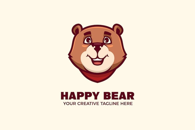 Gelukkig beer mascotte karakter logo sjabloon
