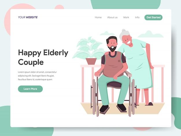 Gelukkig bejaarde echtpaar banner voor bestemmingspagina