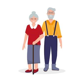 Gelukkig bejaarde echtpaar. oude man en vrouw portret. .