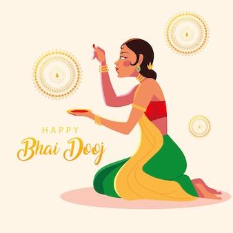 Gelukkig bhai dooj en indisch vrouwenbeeldverhaal met komontwerp, festival en feestthema