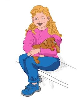 Gelukkig blond meisje in blauwe spijkerbroek, sneakers en roze blouse met een puppy op haar schoot