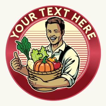 Gelukkig boer-badge toont zijn gewas