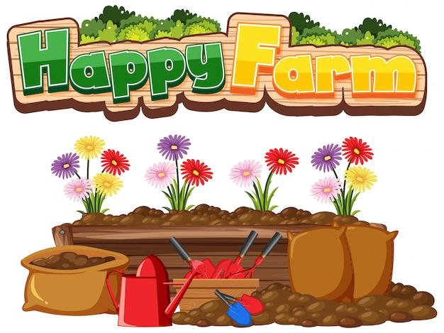 Gelukkig boerderij illustratie op witte achtergrond