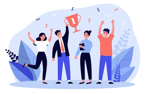 Gelukkig business team winnende prijs