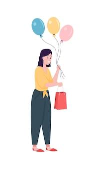 Gelukkig cadeau geven blanke vrouw egale kleur cartoon afbeelding
