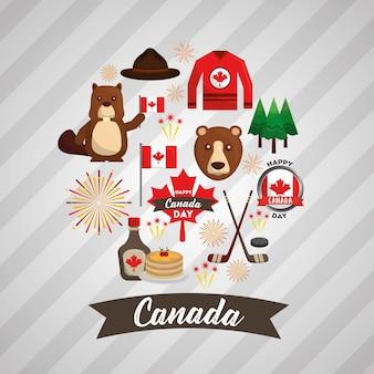 Gelukkig canada dag nationale symbolen instellen