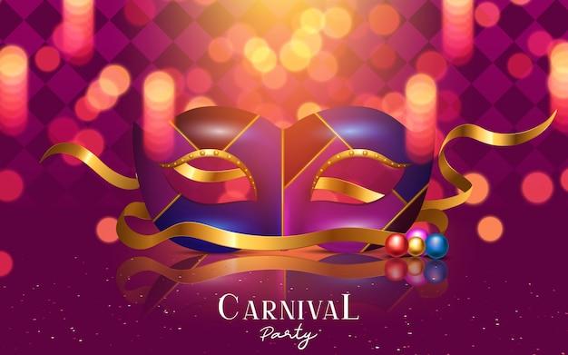 Gelukkig carnaval feestelijk concept met muzikaal trompetmasker