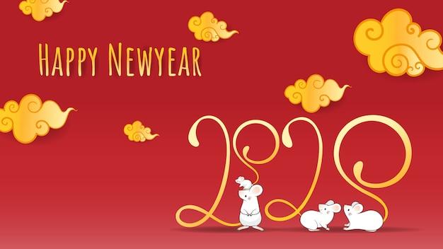 Gelukkig chinees nieuw jaar 2020, jaar van de rattendierenriem