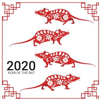 Gelukkig chinees nieuw jaar 2020 jaar van het rattenbeeld van het dierenriemteken sneed kunst en ambachtstijl