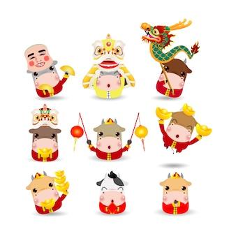 Gelukkig chinees nieuwjaar 2021, het jaar van de dierenriem van de os, set van schattige kleine koe stripfiguur