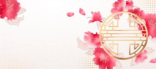 Gelukkig chinees nieuwjaar bannerontwerp met inkt schilderij pioenroos en traditioneel raamkozijn