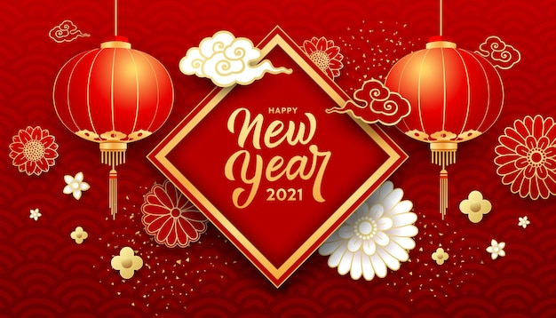 Gelukkig chinees nieuwjaar, bloem, chinese lantaarn, wolk, wenskaart op gouden en rode achtergrond