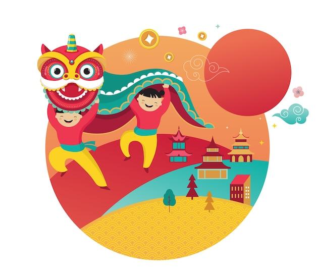 Gelukkig chinees nieuwjaar . dansende draak, bloemen en geldelementen. en banner sjabloon concept