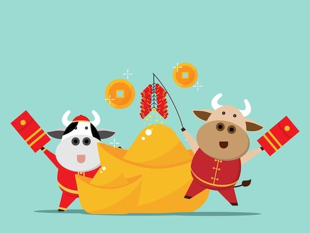 Gelukkig chinees nieuwjaar, jaar van de cartoon van de os de leuke koe met chinees gouden geld vector vlak ontwerp